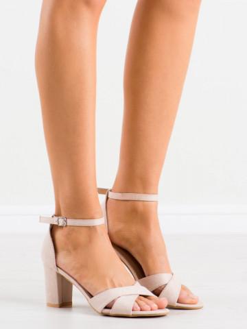 Sandale cu toc cod LL209 Beige