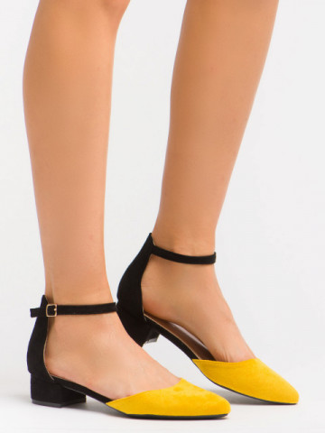 Sandale cu toc cod LU0039 Black/Yellow