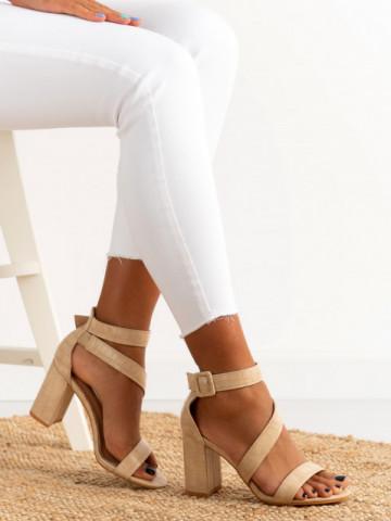 Sandale cu toc cod S901 Beige