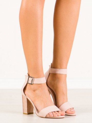 Sandale cu toc cod SH869 Beige/Champagne
