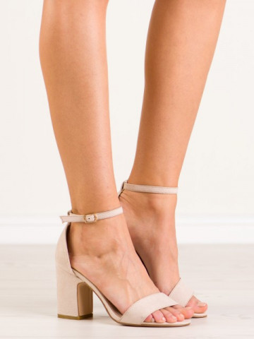 Sandale cu toc cod NS037 Beige