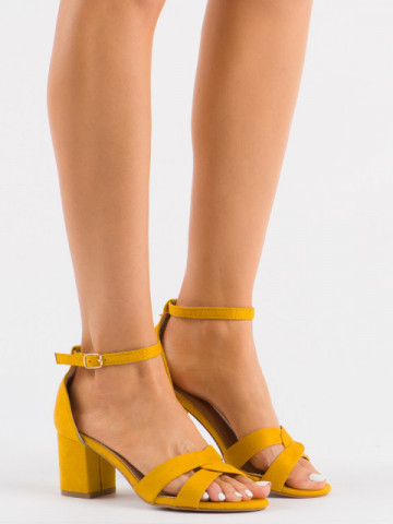 Sandale cu toc cod A3082Y Yellow