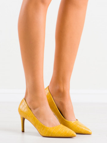 Pantofi cu toc cod CD60 Yellow