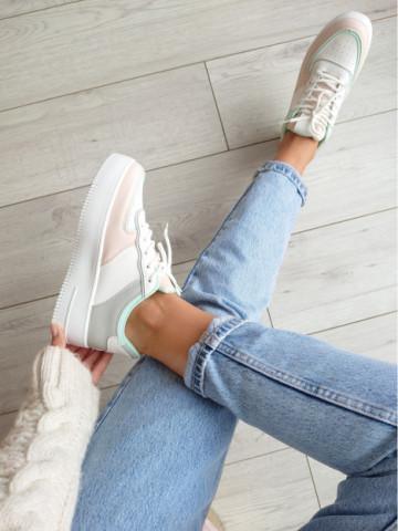 Pantofi sport cod 02 White/Gray/Pink