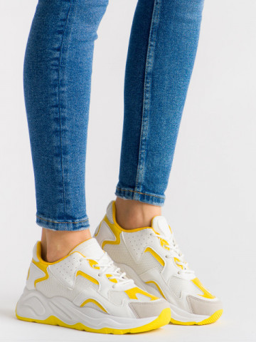 Pantofi sport cod ABC-307 White/Yellow