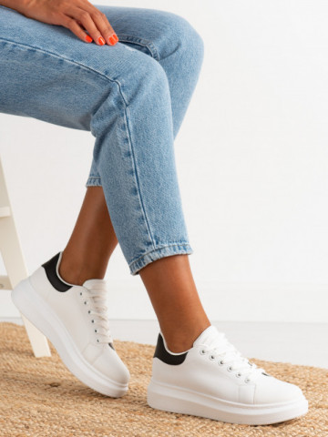 Pantofi sport cod J1860 White/Black