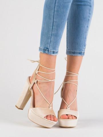 Sandale cu toc cod 2028 Beige