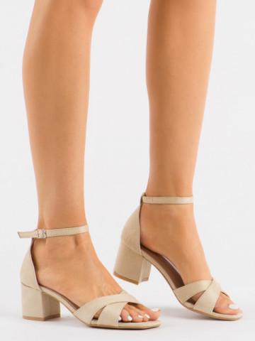 Sandale cu toc cod 3022 Beige