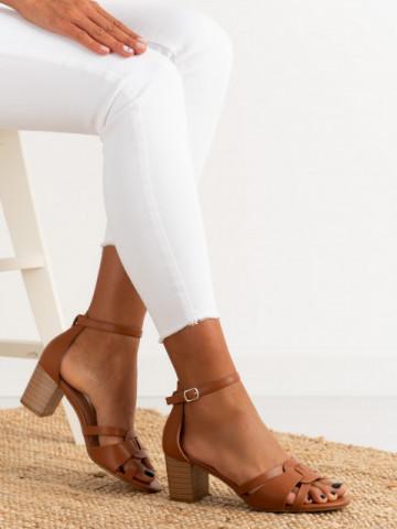 Sandale cu toc cod 372-5 Camel