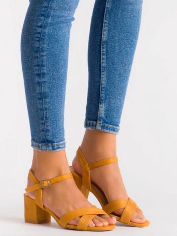 Sandale cu toc cod 3R47-4 Camel