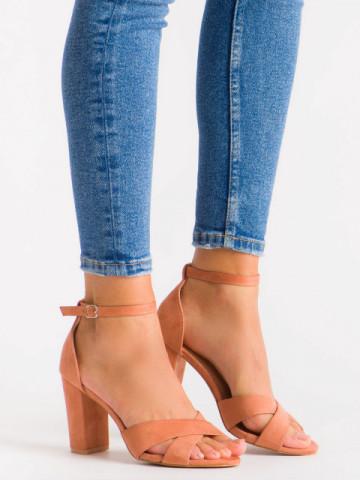 Sandale cu toc cod 3R49-27 Orange