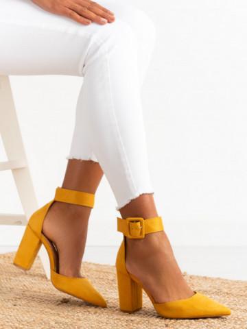 Sandale cu toc cod 421 Yellow