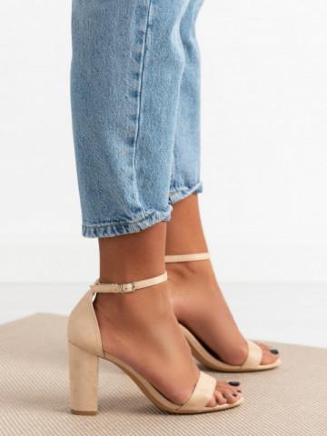 Sandale cu toc cod 5851 Beige