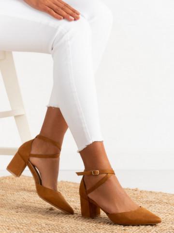 Sandale cu toc cod 6361 Camel