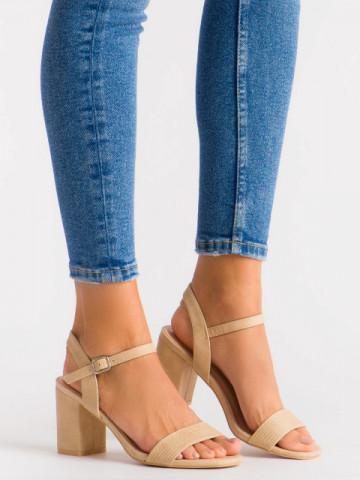 Sandale cu toc cod 8158 Beige