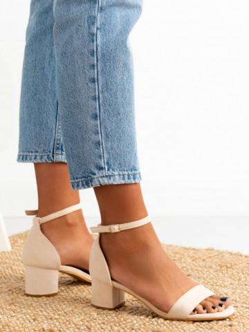 Sandale cu toc cod 8833 Beige