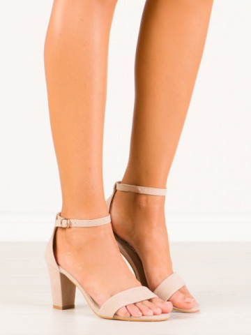 Sandale cu toc cod A31 Beige