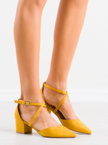 Sandale cu toc cod AF01 Yellow
