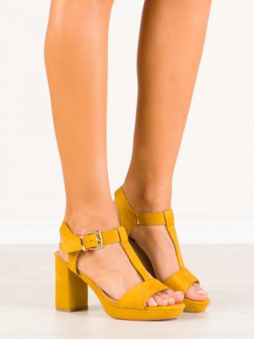 Sandale cu toc cod HJ103 Yellow