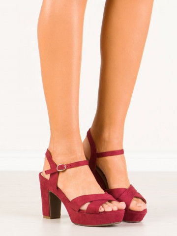Sandale cu toc cod JC15017 Wine Red