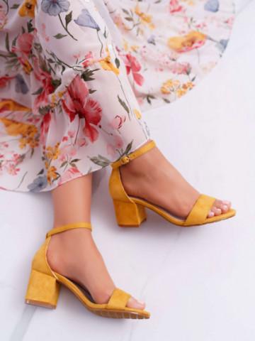 Sandale cu toc cod JX-57 Yellow