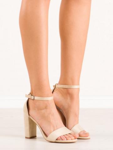 Sandale cu toc cod OD0311 Beige