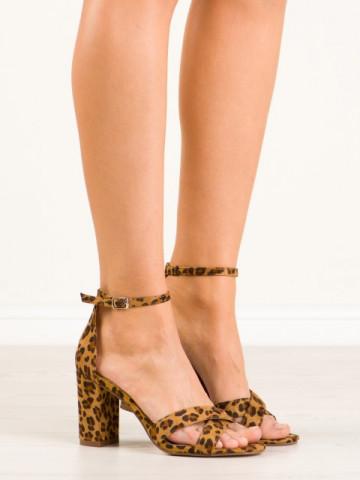 Sandale cu toc cod P-6399 Leopard