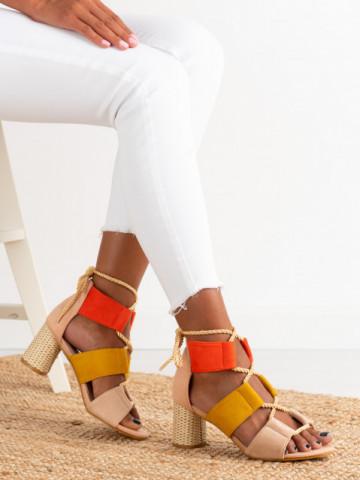 Sandale cu toc cod R129 Pink
