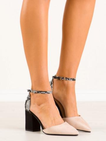Sandale cu toc cod NC903 Beige
