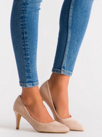 Pantofi cu toc cod OD0284 Beige
