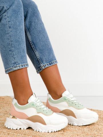 Pantofi sport cod D036 White/Pink/Green