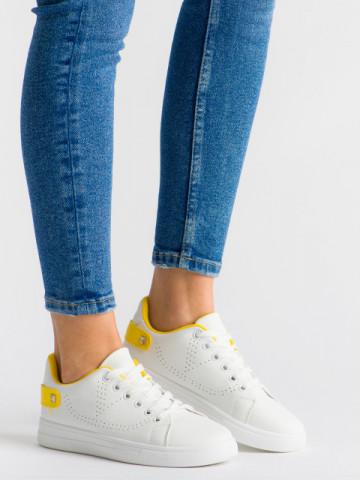 Pantofi sport cod J1827 White/Yellow