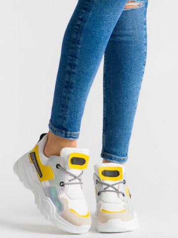 Pantofi sport cod YKQ203 White/Yellow