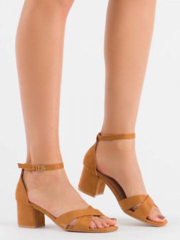 Sandale cu toc cod 3022 Camel