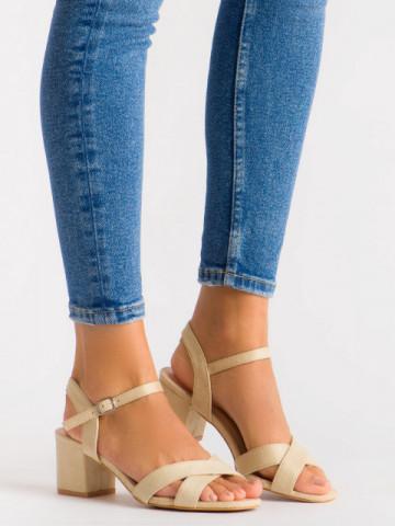 Sandale cu toc cod 3R47-13 Beige