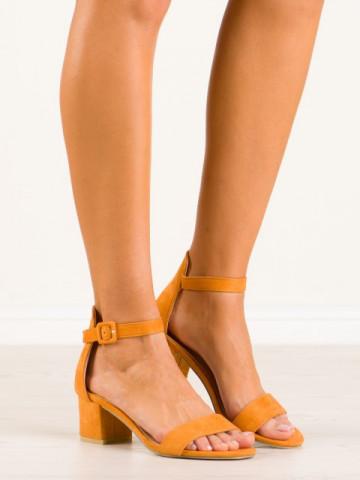 Sandale cu toc cod 9255-26 Yellow