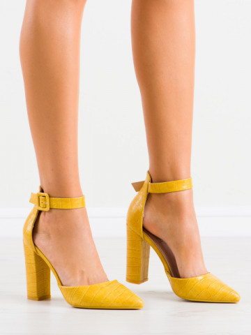 Sandale cu toc cod GG90 Yellow