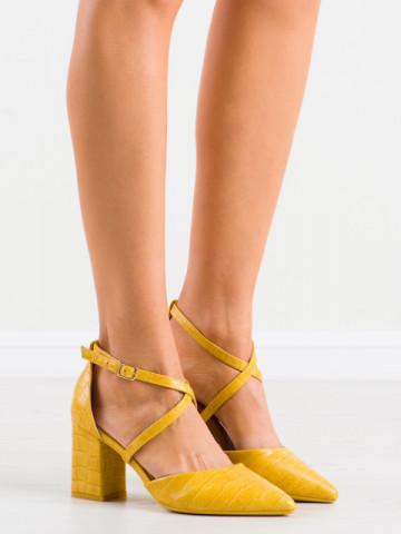 Sandale cu toc cod GG92 Yellow