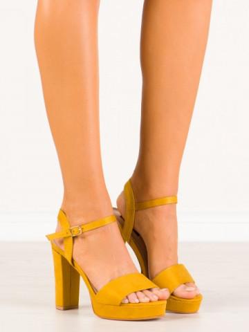 Sandale cu toc cod HJ101 Yellow