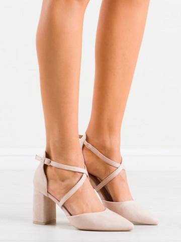 Sandale cu toc cod LE069 Beige