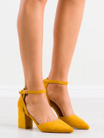 Sandale cu toc cod LE075 Yellow