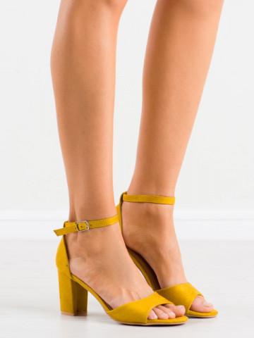 Sandale cu toc cod LL208 Yellow