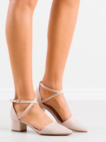 Sandale cu toc cod NF57 Beige