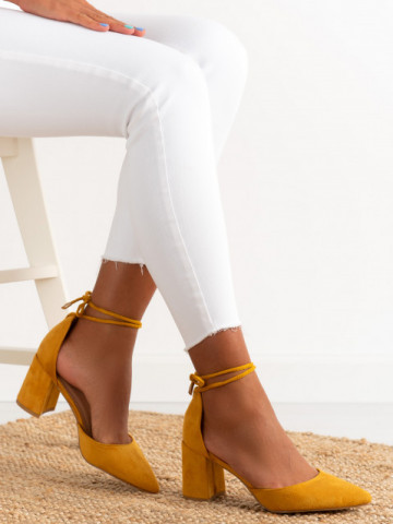 Sandale cu toc cod OD0221 Yellow