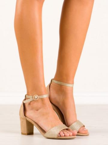 Sandale cu toc cod 9261-37 Gold