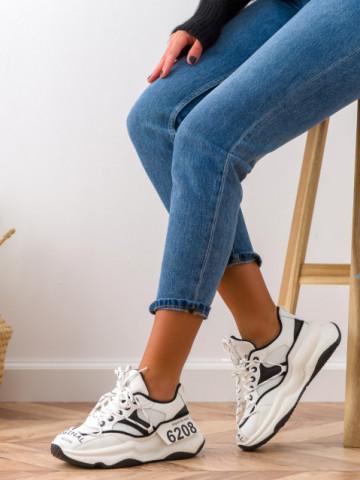 Pantofi sport cod W6607 White/Black