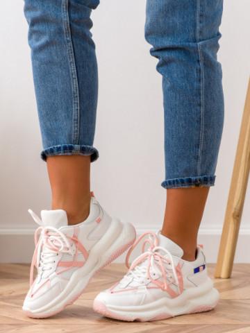Pantofi sport cod W6612 White/Pink/Black