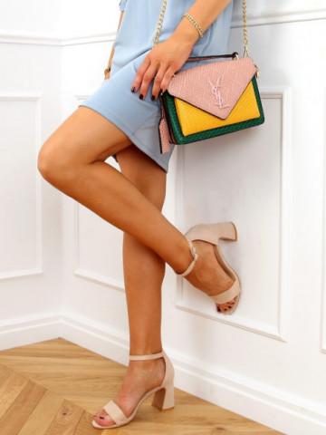 Sandale cu toc cod 8741 Beige