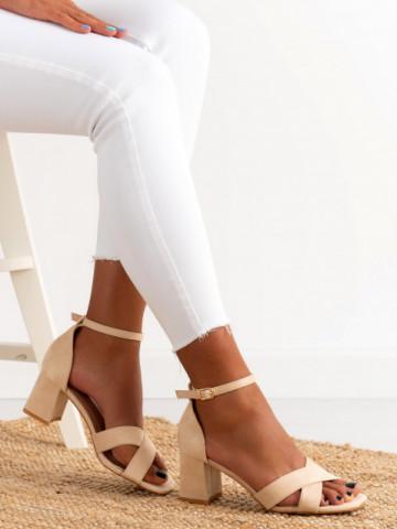 Sandale cu toc cod GG100 Beige