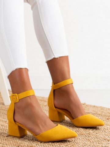 Sandale cu toc cod LL76 Yellow